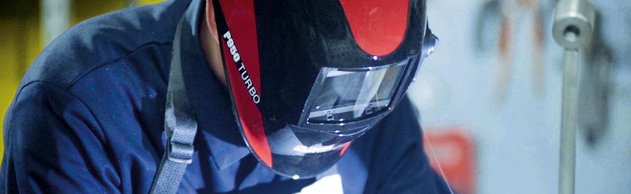 Pro welding helmets - P950 Turbo banner - SACIT